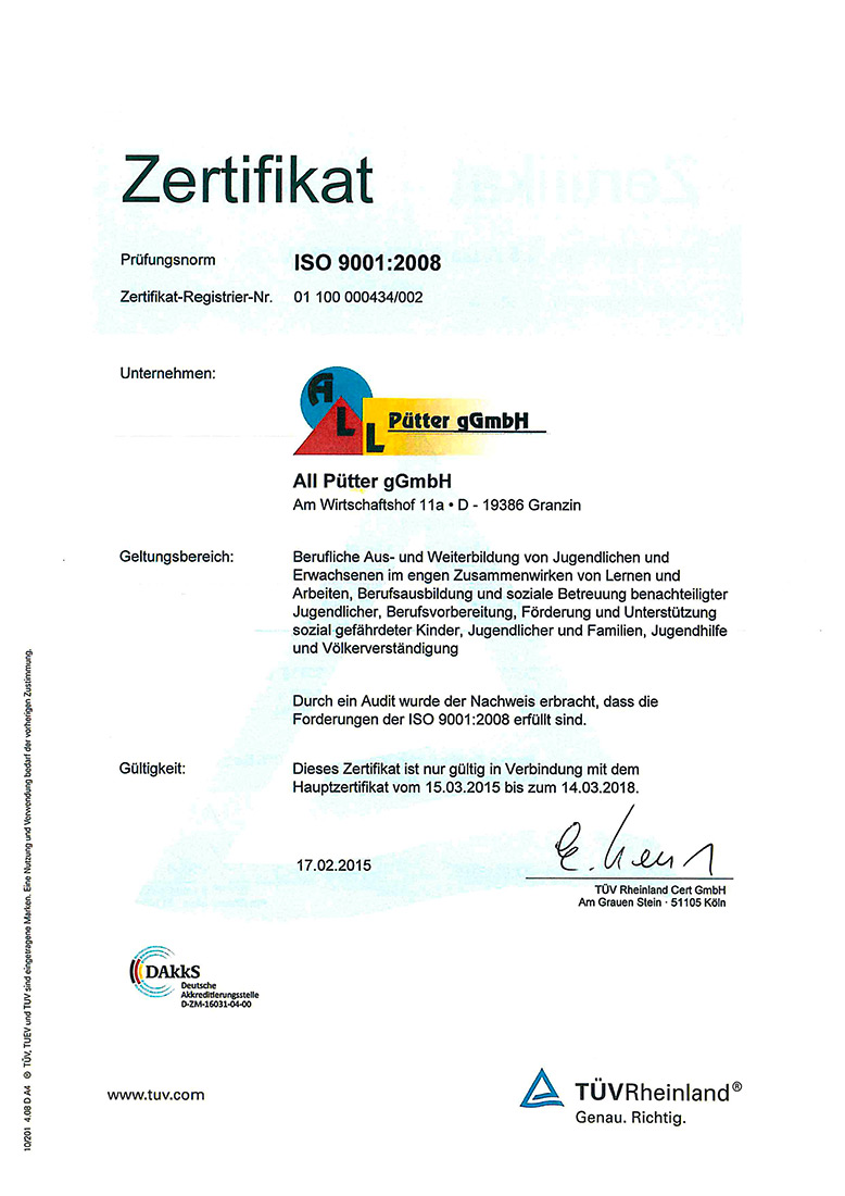 Prüfungsnorm ISO 9001:2008